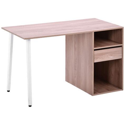 Bureau avec tiroirs et etagere, bureau de travail, bureau d ordinateur, bureau de bureau, bureau agrandi, en MDF et cadre en metal blanc, maison, bureau, bureau a domicile