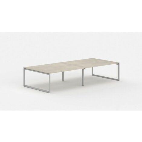 Bureau bench contemporain 4 personnes Regis II Acacia clair Piétement argenté Longueur 360 cm - Acacia clair