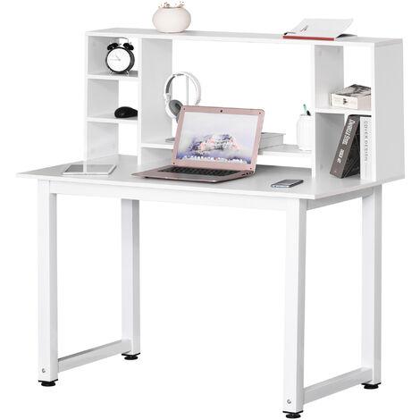 Bureau bibliothèque 2 en 1 - 4 étagères 6 espaces de rangement - châssis piètement métal plateau bibliothèque panneaux particules blanc