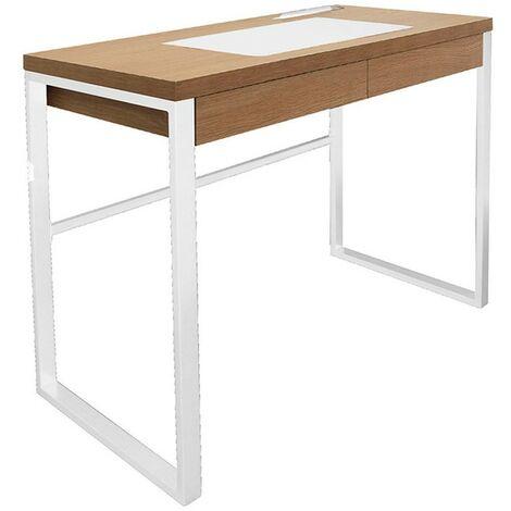Bureau bois et métal blanc - Blanc