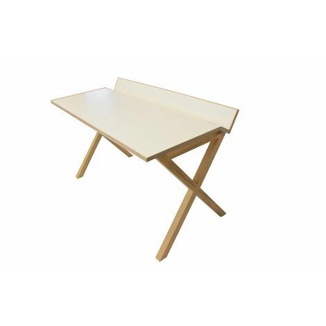 Bureau bois moderne blanc 130 cm TILT - Blanc