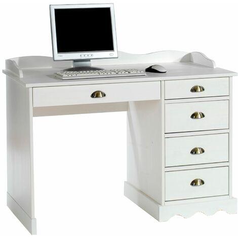 Bureau COLETTE rangement avec 5 tiroirs et plateau avec corniche, en pin massif lasuré blanc