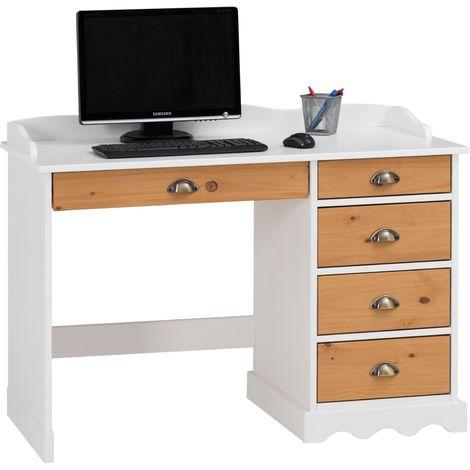Bureau COLETTE rangement avec 5 tiroirs et plateau avec corniche, en pin massif lasuré blanc et brun