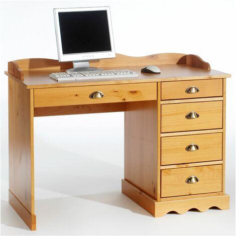 Bureau COLETTE rangement avec 5 tiroirs et plateau avec corniche, en pin massif lasuré couleur miel
