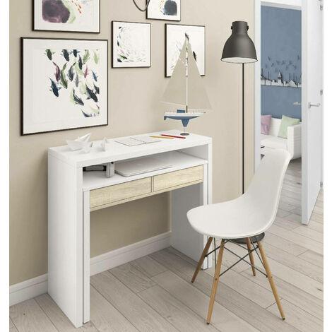 Bureau console extensible avec deux tiroirs, couleur blanche, 87,5 x 98,5 x 36 cm (extensible jusqu'à 66 cm lorsqu'il est ouvert).