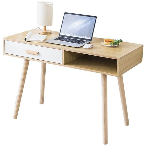 Bureau Console Ordinateur Table d'appoint 1 Tiroir Design - L 110 cm
