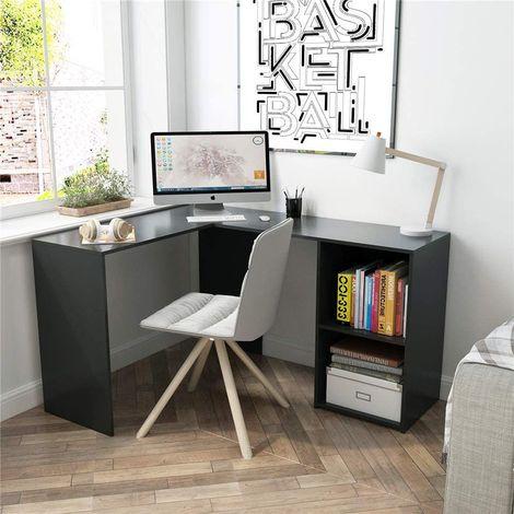 """main image of """"Bureau d'angle avec Rangement 2 Étagères, bureau informatique, bureau d'ordinateur, Bois, Noir-Mondeer"""""""