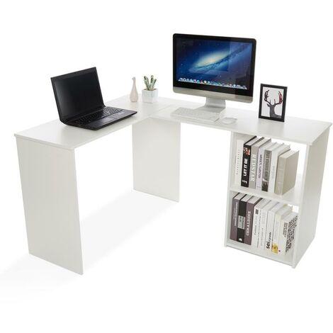 """main image of """"Bureau d'angle avec Rangement 2 Étagères,bureau informatique, bureau d'ordinateur, Bois, Blanc-Mondeer"""""""
