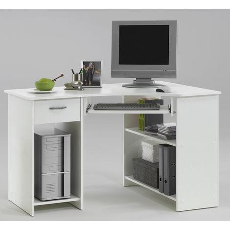 Bureau d'angle avec tiroir et plateau clavier, blanc - Dim : L118 x H76 x P77 cm -PEGANE-