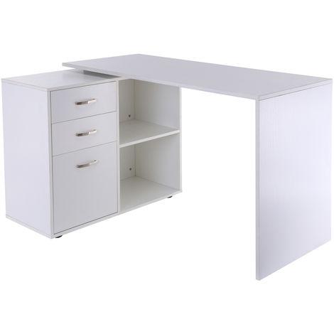 Bureau d'angle bureau droit modulable 2 en 1 bureau informatique tiroirs x 3 + 2 niches MDF blanc