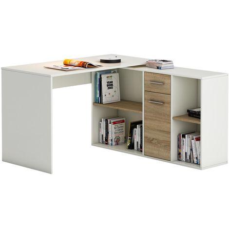 Bureau d'angle CARMEN table avec meuble de rangement intégré et modulable 4 étagères 1 porte et 1 tiroir, décor blanc/chêne sonoma