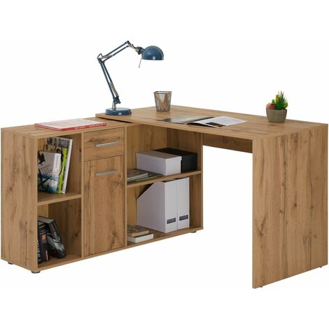 Bureau d'angle CARMEN table avec meuble de rangement intégré et modulable avec 4 étagères 1 porte et 1 tiroir, décor chêne sauvage