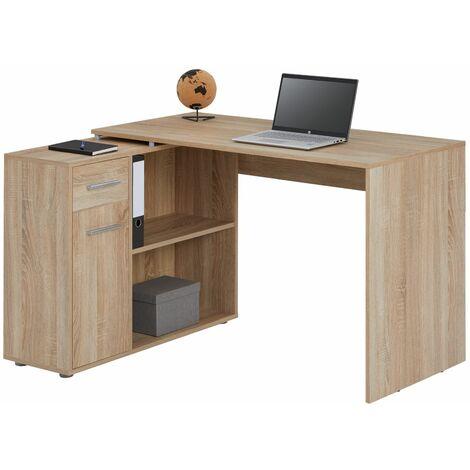 Bureau D Angle Isotta Table Avec Meuble De Rangement Integre