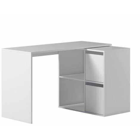 """main image of """"Bureau d'angle modulable SMART avec rangement L120cm - Blanc - Blanc"""""""