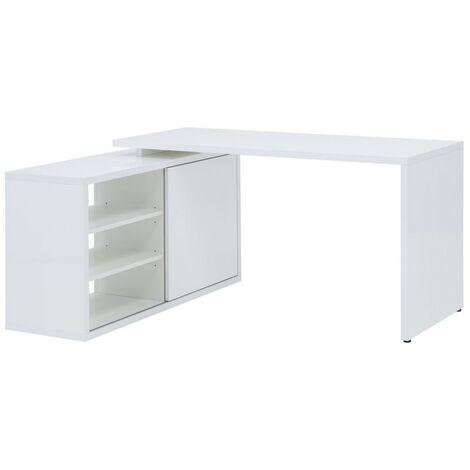 Bureau d'angle réversible 140 cm blanc - SNOW - blanc