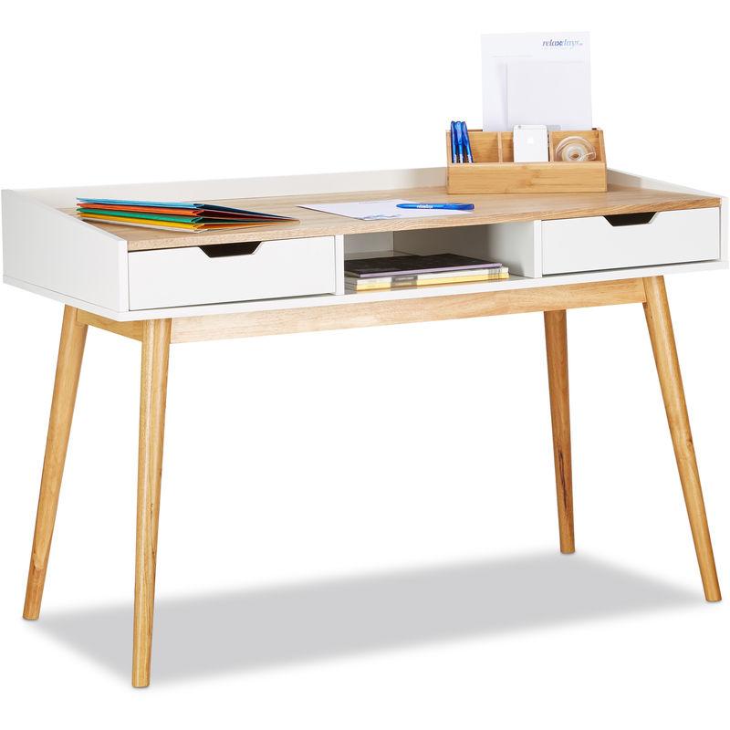 Bureau Design Scandinave 2 Tiroirs Table D Ordinateur Hxlxp Env 76 X 120 X 55 Cm Bois Blanc Brun 4100218424225