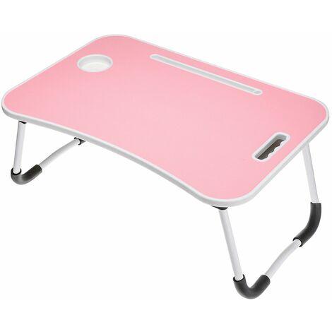 Bureau d'ordinateur pliant avec fente pour carte + porte-gobelet + tiroir (rose)