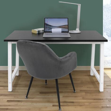Bureau d'ordinateur table de PC bureau informatique 120x60 cm MDF noir et blanc
