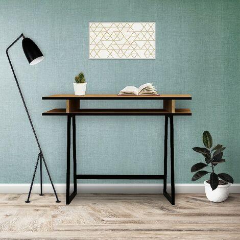 Bureau Drago - avec etageres - Bureau, etude, salon, chambre a coucher - Chene, noir en Panneaux de particules en melamine, metal, 100 x 60 x 75 cm