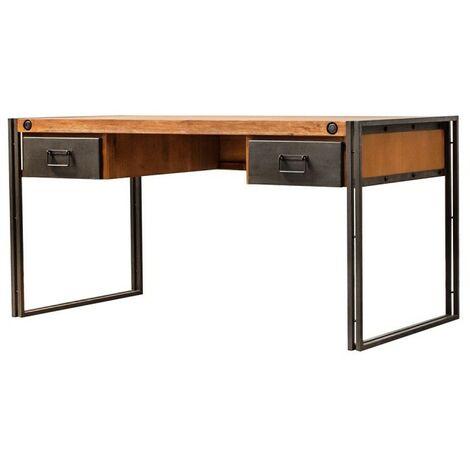 Bureau en acacia métal 2 tiroirs - WORKSHOP - Bois