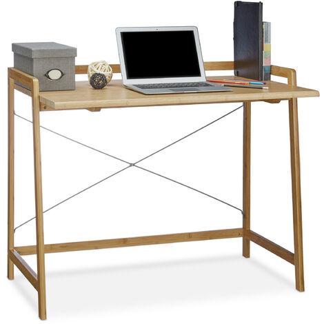 Bureau en bambou table en bois moderne 80x100 table ordinateur portable HxlxP: 80 x 98,5 x 59 cm, nature