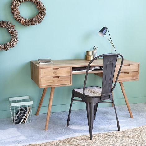 Bureau en bois de teck 4 tiroirs - Naturel