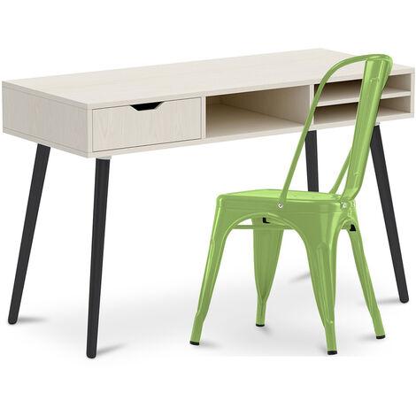 Bureau en bois Design style scandinave Beckett + Chaise Style Tolix 5Kgs Nouvelle édition Métal Gris foncé