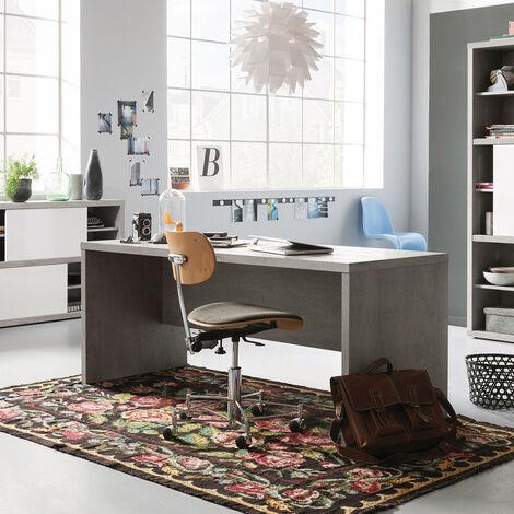 Bureau en Bois Gris Effet Ciment Design Moderne PRATICO