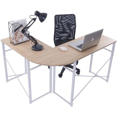 Bureau en forme de L bureau d'angle contemporain bureau d'ordinateur poste de travail pour la maison et le bureau noir - noir