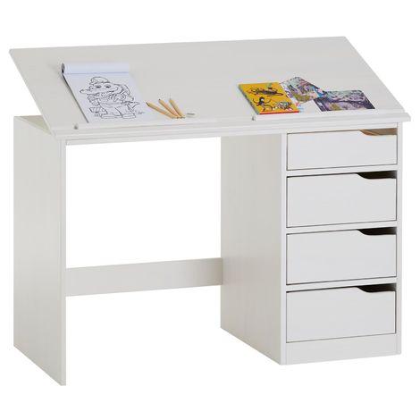 """main image of """"Bureau enfant écolier junior EMMA pupitre inclinable avec 4 tiroirs en pin massif, lasuré blanc"""""""