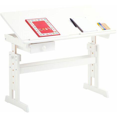 Bureau enfant écolier junior FLEXI table à dessin réglable en hauteur et pupitre inclinable avec 1 tiroir en pin massif lasuré blanc