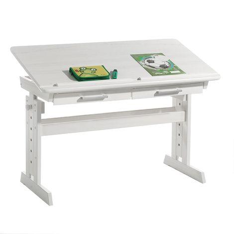 Bureau enfant écolier junior OLIVIA table à dessin réglable en hauteur et pupitre inclinable avec 2 tiroirs en pin massif blanc