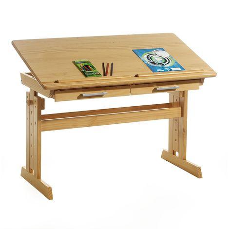 Bureau enfant écolier junior OLIVIA table à dessin réglable en hauteur et pupitre inclinable avec 2 tiroirs en pin massif hêtre
