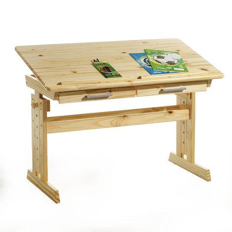 Bureau enfant écolier junior OLIVIA table à dessin réglable en hauteur et pupitre inclinable avec 2 tiroirs en pin massif vernis nat