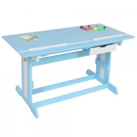 Bureau enfant meuble chambre bleu plateau inclinable - Bleu