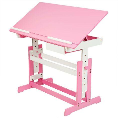 Bureau enfant meuble réglable en hauteur et inclinable rose - Rose