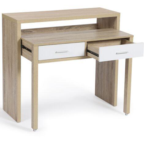 Bureau extensible bois façon hêtre et blanc