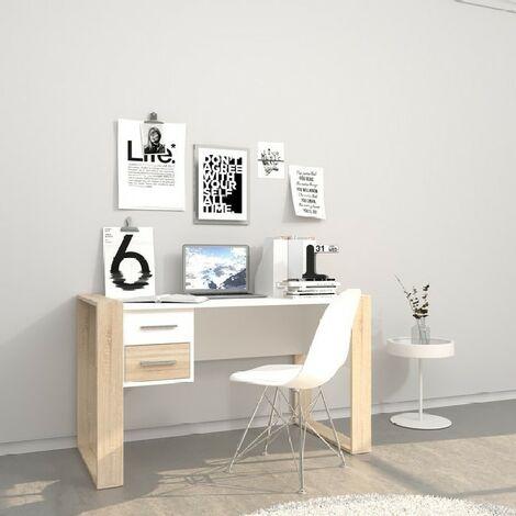 Bureau Farley - avec des tiroirs - bureau, etude, salle - Blanc, Sonoma en Panneau d'agglomere melamine, 124 x 60 x 75 cm