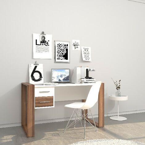 Bureau Farley - avec tiroirs, etageres - bureau, etude, salle - Blanc, Bois en Panneau de melamine, 110 x 60 x 75 cm