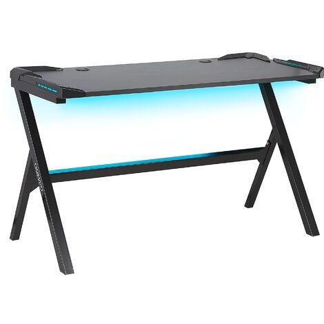 Bureau gamer éclairage LED 120 x 60 cm noir DANVERS