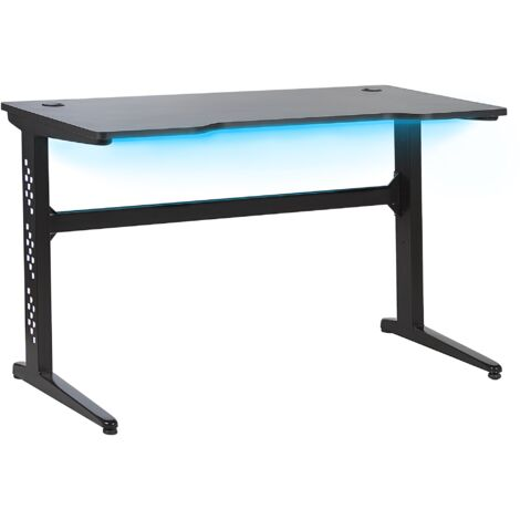Bureau gamer éclairage LED 120 x 60 cm noir DEXTER