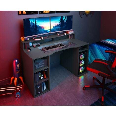 Bureau GAMER PC Gris Anthracite avec étagères   gris anthracite
