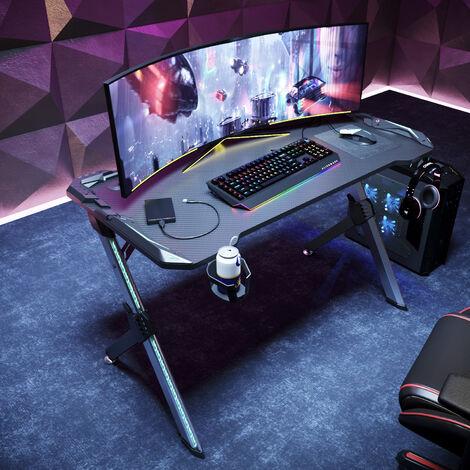 Bureau Gaming de Jeu Bureau Gamer pro Lumière surround RVB 120x60x75cm avec Porte-gobelet, Cable Rangement et Crochet pour Casque Table de Gaming Noir - SIRHONA