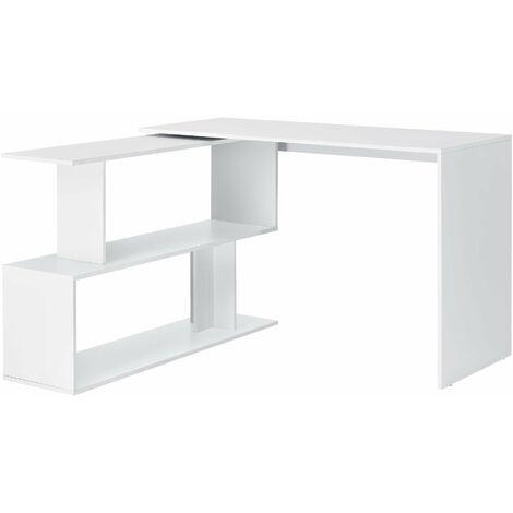 Bureau gigogne design avec partie étagère bureau de coin extension panneau de particules mélaminé 77 x 120 x 50 cm blanc - Blanc