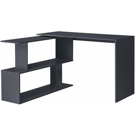 Bureau gigogne design avec partie étagère bureau de coin extension panneau de particules mélaminé 77 x 120 x 50 cm gris foncé - Gris
