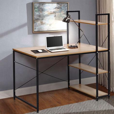 Bureau industriel 120x60 en bois et acier avec bibliothèque et étagères design minimaliste EMPIRE