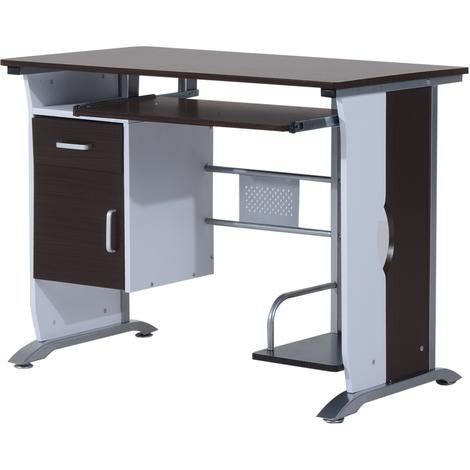 Bureau informatique design 100L x 52l x 75h cm brun noir et blanc
