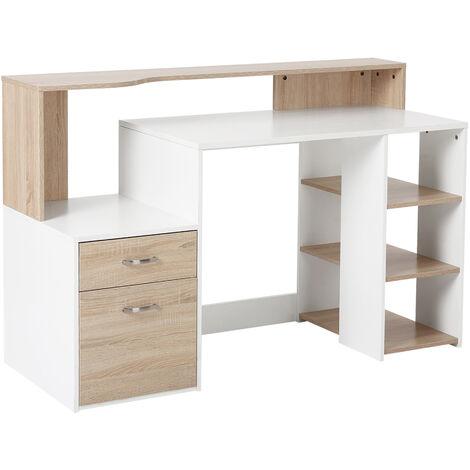 Bureau Informatique multimédia Design Multi-rangements 137 L x 55 l x 92 H cm chêne Blanc