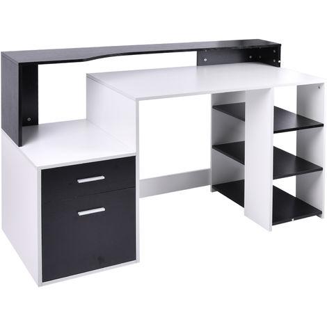 Bureau informatique multimédia design multi-rangements 137 L x 55 l x 92 H cm noir et blanc