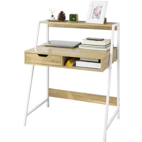 Bureau Informatique Table de Bureau Secrétaire Table Plan de Travail avec tiroir et étagère - Cadre métal,SoBuy FWT63-N